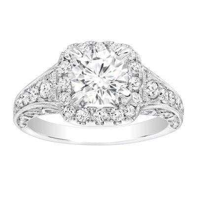 Agathe Milgrain Diamond Engagement Ring in 14K; 0.70 ctw
