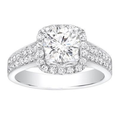 Sheena Halo with Milgrain Diamond Engagement Ring in 14k White Gold; Diamond 0.60 ctw