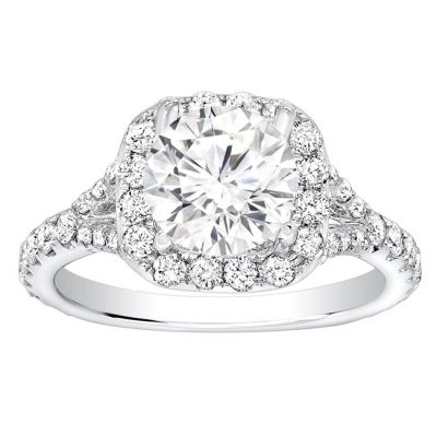 Chloe Halo Pave Diamond Engagement Ring in 14K White Gold; 1.00 ctw