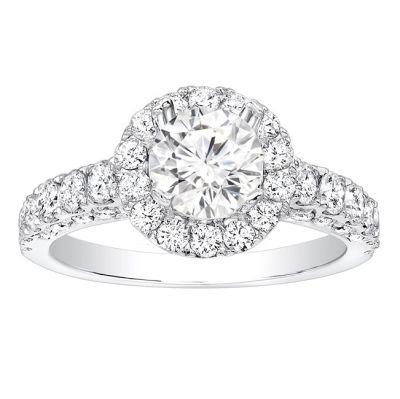 Natalya Halo Diamond Engagement Ring in 14k White Gold; Diamond 1.20 ctw
