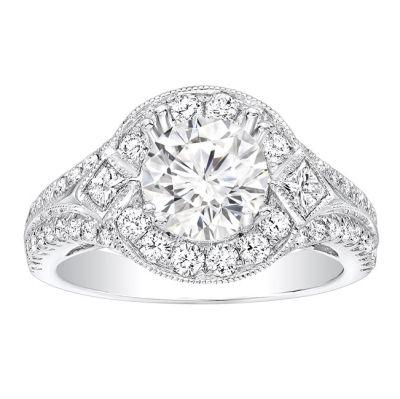 Rozalina Milgrain Diamond Engagement Ring in 14k White Gold; Diamond 0.90 ctw