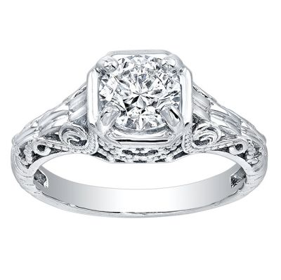 Gatsby Antique Inspired Engagement Ring in 14K White Gold