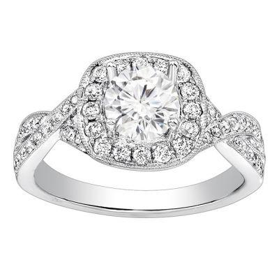Criss Cross Halo Diamond Ring in 14K White Gold; 0.50 ctw