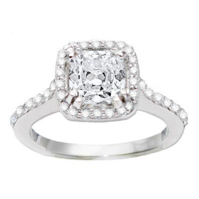 Gabriella Halo Diamond Engagement Ring in 14k White Gold; 0.55 ctw