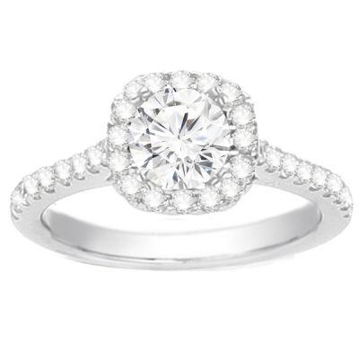 Cushion Petite Halo Diamond Engagement Ring; .70 ctw