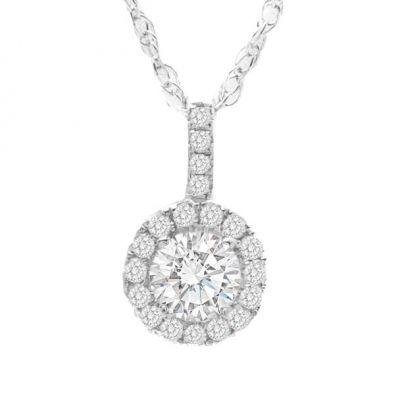 14K White Gold Diamond Pendant; .75 ctw
