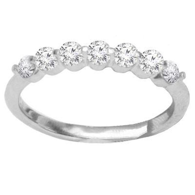 Lilly Diamond Wedding Band in 14K White Gold; .80 ctw