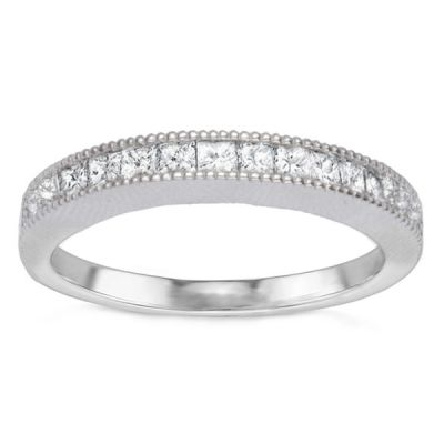 Milgrain Princess Channel Set Diamond Band; .60 ct