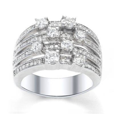 Four-Row Diamond Wedding Band in 14K White Gold; 1.20 ct