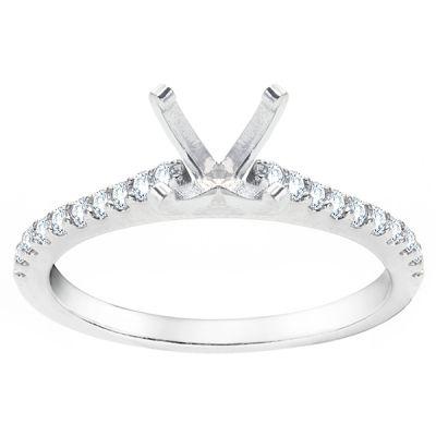 Mia Petite Diamond Engagement Ring in 14K White Gold; .23 ctw with 0.91 Carat Round Diamond