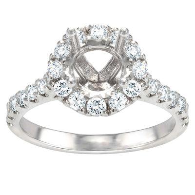 Eva Round Halo Engagement Ring; .76 ctw
