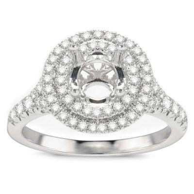 Samara Double Halo Engagement Ring; .61 ct with 0.9 Carat Round Diamond