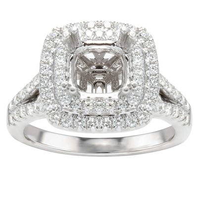 Paige 14K White Gold Double Halo Engagement Ring; .60 ct