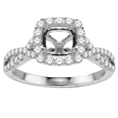 Rosalba Twisted Halo Engagement Ring; 0.65 ct