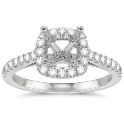 Aimee Cushion Halo Engagement Ring in 14K White Gold; .40 ct with 0.71 Carat Princess Diamond