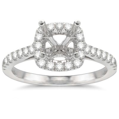 Aimee Cushion Halo Engagement Ring in 14K White Gold; .40 ctw