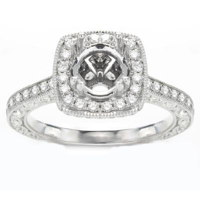 Ines Halo Engagement Ring; .92 ct