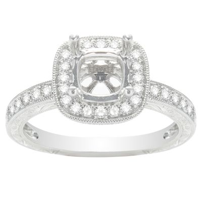 Madeleine Halo Engagement Ring in 14K White Gold; .27 ct