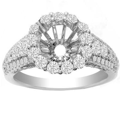 Nia Halo Ring in 14K White Gold- Nia; 0.90 ctw