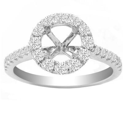 Kaley Round Halo Diamond Ring in 14K White Gold; 0.54 ctw
