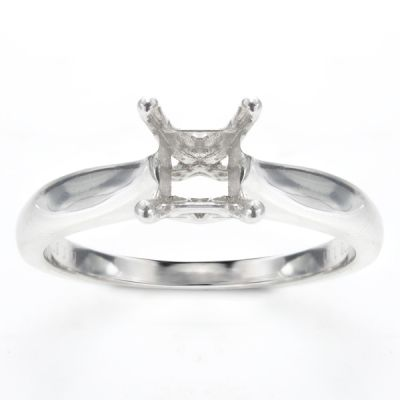 Delia Solitaire Ring in 14K White Gold with 2 Carat Cushion Diamond