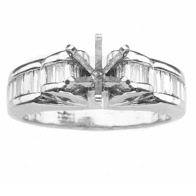 14K White Gold Diamond Engagement Ring; Diamond Weight 1.00 ctw