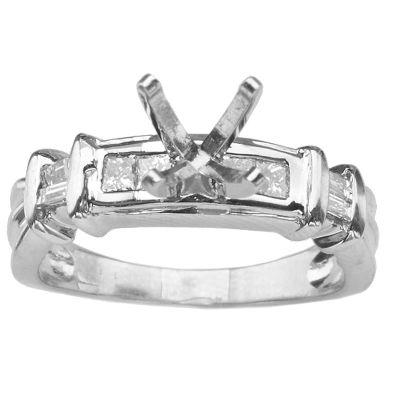 14K White Gold Diamond Engagement Ring; Diamond Weight .50 ctw