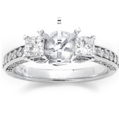 14k White Gold Diamond Engagement Ring; .90 ctw.