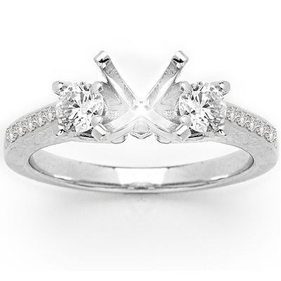 Reign Three Stone Pave Diamond Ring in 14K White Gold; 0.46 ctw