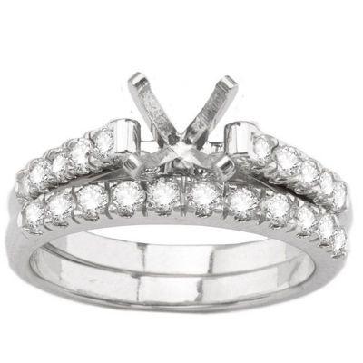 14K White Gold Diamond Engagement Ring and Wedding Band; Diamond Weight .61 ctw