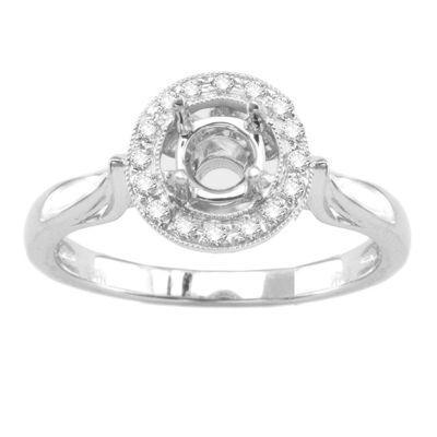 14K White Gold Diamond Engagement Ring; Diamond Weight 0.30 ctw