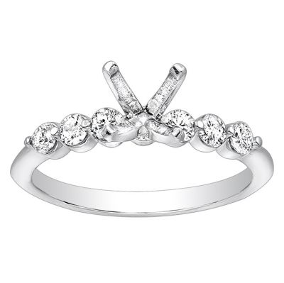 Petite Diamond Engagement Ring; Diamond Weight: 0.35 with 0.73 Carat Princess Diamond