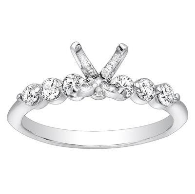 Petite Diamond Engagement Ring; Diamond Weight: 0.35 with 0.73 Carat Round Diamond