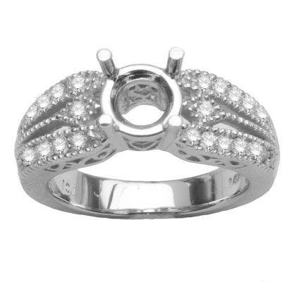 14K White Gold Diamond Engagement Ring .36ctw