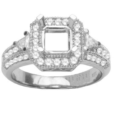 Quinn Diamond Engagement Setting in 14K white Gold; 0.70 ctw