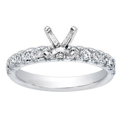Vivianne Diamond Engagement Ring in 14K White Gold; .80 ct