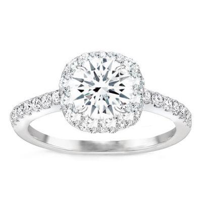 Carmela Cushion Halo Engagement Ring in 14K White Gold: 0.70 ctw