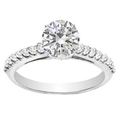 Fleur de Lis 14K White Gold Diamond Engagement Ring; 1.05 ctw