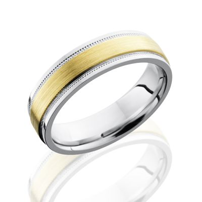Cobalt Chrome Men's Flat Band with Grooved Edges