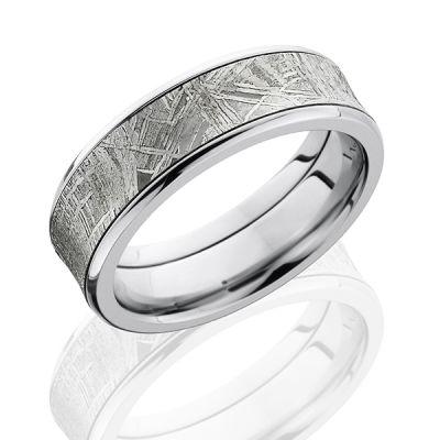 Cobalt Chrome Men's Wedding Band With Meteorite