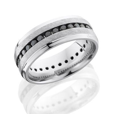 Cobalt Chrome Men's Wedding Band with Black Diamonds