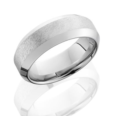 Cobalt Chrome Men's Band With Wide High Bevel Band