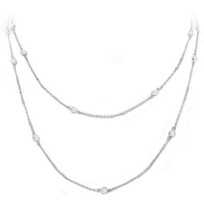 Diamond By The Yard Bezel Necklace; 14KWG 17