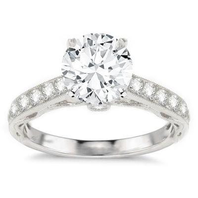 Azalea Diamond Engagement Ring in 14K White Gold; 0.41 ctw