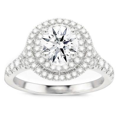 Samara 14K White Gold Double Halo Engagement Ring; 1.63 ctw