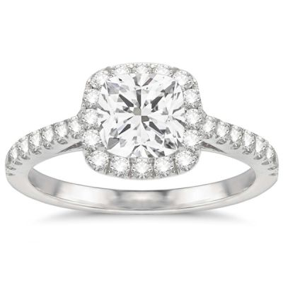 Aimee Halo Diamond Engagement Ring in 14K White Gold; .92 ctw