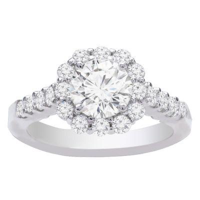 Emma Diamond Halo Engagement Ring; 0.85ctw