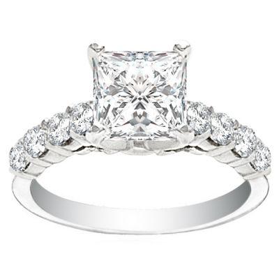 Abriana 14K White Gold Diamond Engagement Ring; .75 ctw