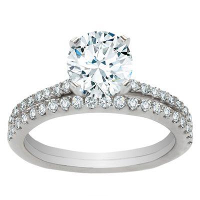Diamond Engagement Ring Set in 14K White Gold- Emilia; 0.44 ctw
