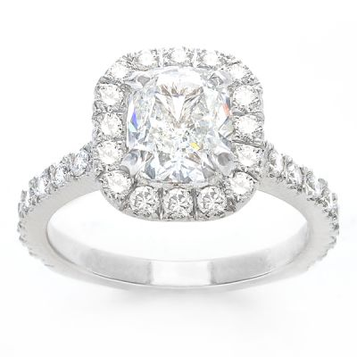 Evelina Cushion Engagment Ring in 14K White Gold; 1.75 ctw
